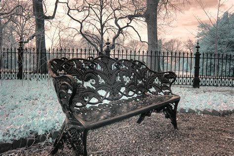 victorian park bench victorian park bench infrared photography missouri
