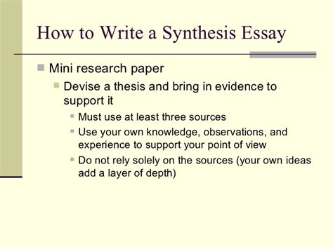 How To Make A Research Paper Thesis - writing a synthesis paper how to write a synthesis essay