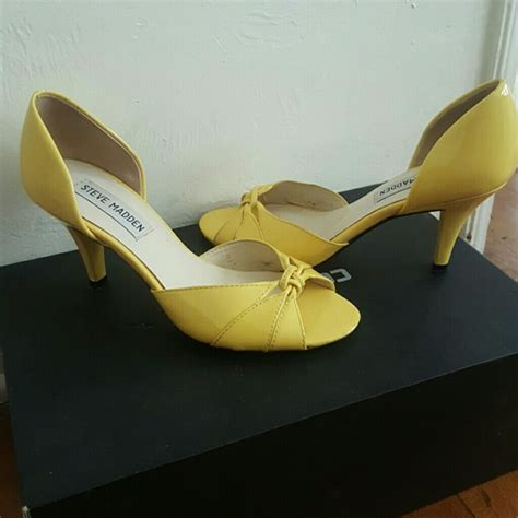 65 steve madden shoes steve madden yellow bow heels from r s closet on poshmark