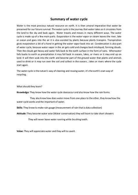 Essay About Water by Summary Of Water Cycle