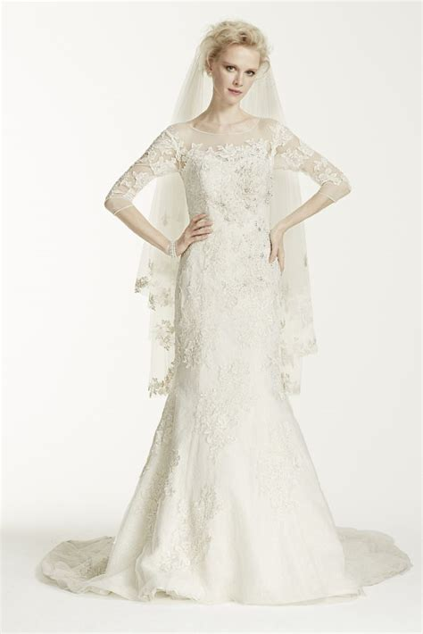 oleg cassini 3 4 sleeve trumpet wedding dress ebay
