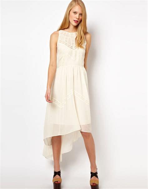 Vintage Lace Insert High Low Dress asos asos midi dress with high low hem and lace insert