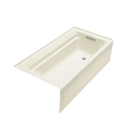 right hand bathtub kohler archer 6 ft right hand drain bathtub in biscuit k 1125 ra 96 the home depot