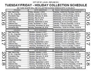 Trash Schedule Refuse Collection Schedule