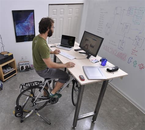 Working Desk a desk designed to let cyclists work out while working zdnet