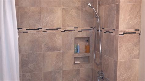 Bathroom Shower Tile Installation Guest Bath Remodel Porcelain Tile Tile Installation