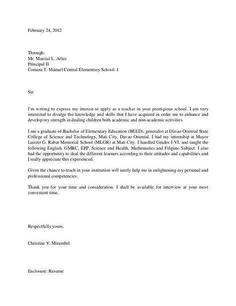 application letter writing sle tine application letter