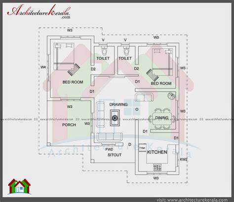 Kerala Home Design Below 1500 Sq Feet 1000 sqft single storied house plan and elevation
