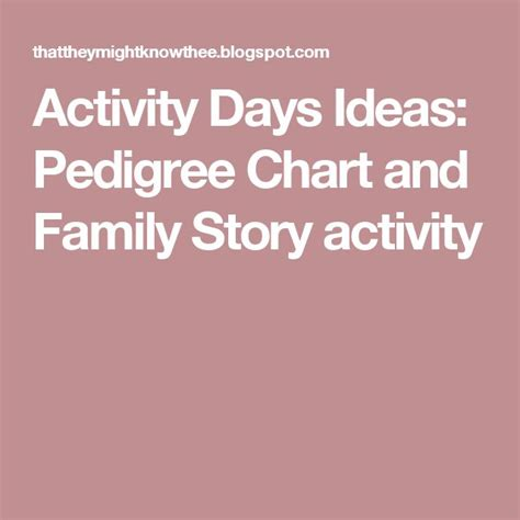 20 At Faith 3 Days Only by Activity Days Ideas Pedigree Chart And Family Story