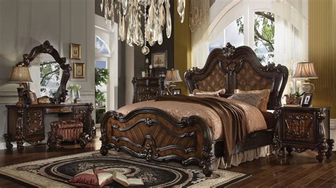 versailles bedroom furniture collection acme versailles 4 piece bedroom set in cherry oak