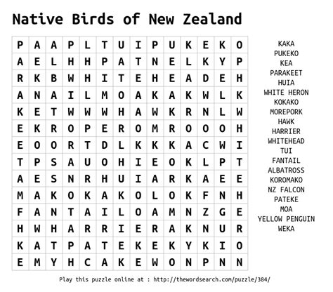 New Zealand Search Word Search On Birds Of New Zealand