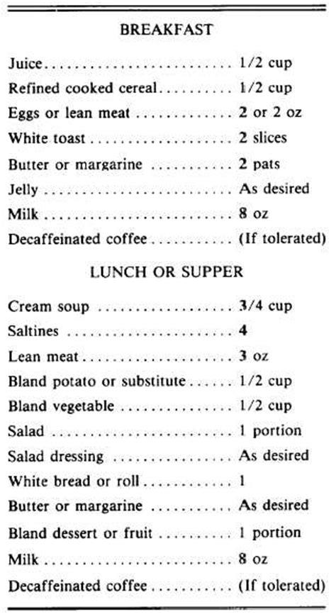 bland diet table 3 8 six meal bland diet sle menu