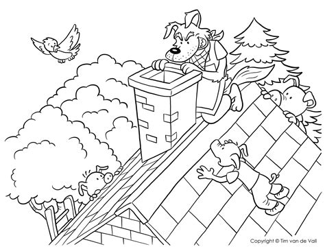 coloring page of big bad wolf three little pigs coloring pages the three little pigs story