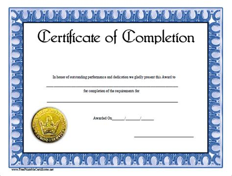 certificate of completion templates free certificate template award cirtificates all form templates
