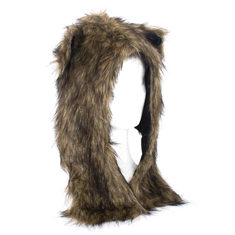 faux fur wounisex animal hat with attached scarf and