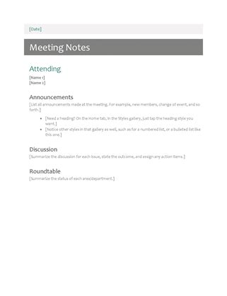 Meeting Notes Office Templates Microsoft Word Meeting Notes Template