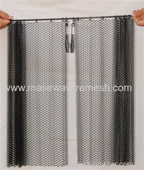 fireplace mesh screen curtain carbon steel black fireplace spark curtain from china