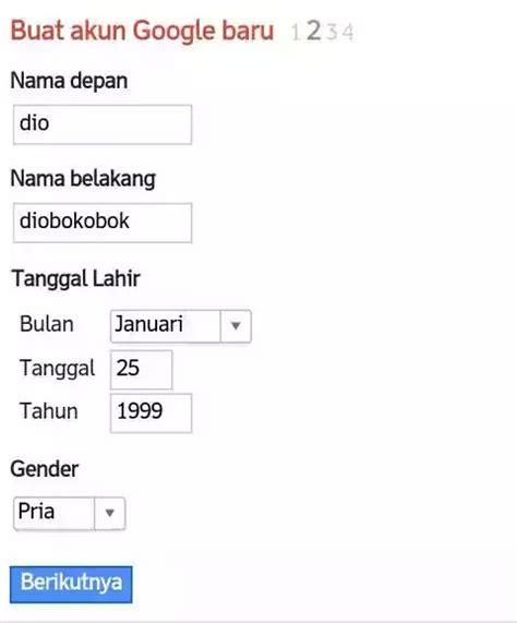buat akun google indonesia isi data