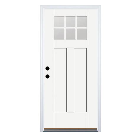 Craftsman Fiberglass Entry Door by Shop Therma Tru Benchmark Doors Craftsman Insulating 6 Lite Right Inswing Ready To