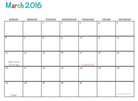 printable planner for march 2016 free printable calendar march 2016