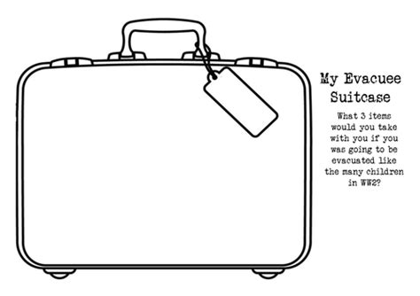blank suitcase template an evacuee s suitcase by dianefinch teaching resources tes