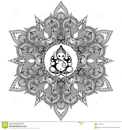 zentangle stylized round indian mandala with hindu