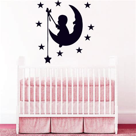 Wall Decals Moon Stars Decal Vinyl Sticker Nursery Baby Vinyl Wall Decals Nursery