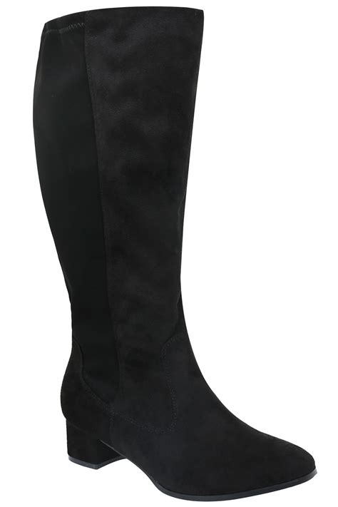black knee high microfibre boots with back stretch panel