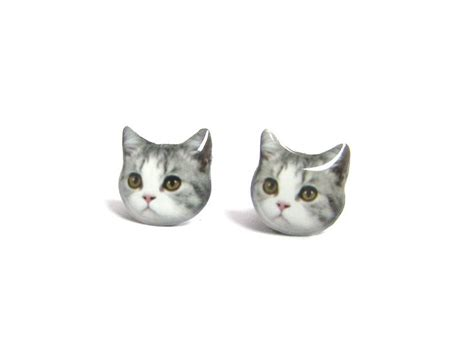 grey and white cat kitten stud earrings a14e84 made