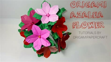 Origami Azalea - flower how to make origami azalea flower and diy stem