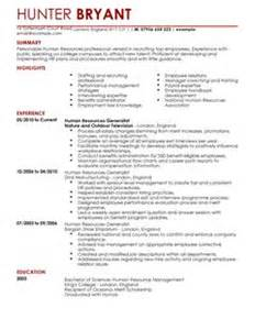 human resources cv template hr cv exles livecareer