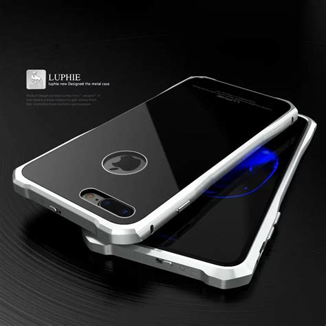 Back Metal Iphone 7 luphie metal aluminum bumper tempered glass back