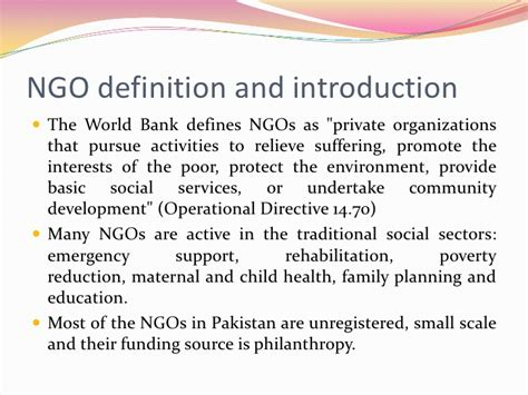 world bank definition of governance ngos in pakistan