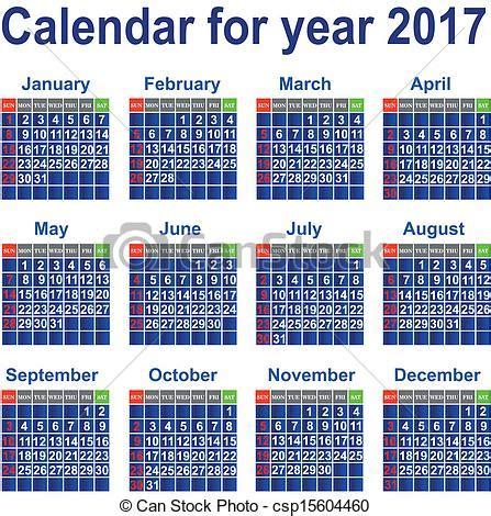 Calendario Escolar Do Ist Clip Vektor Kalender 2017 Jahr Kalender
