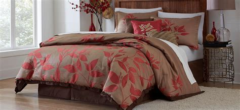 red bed comforter essential home 7 piece comforter set red leaf home