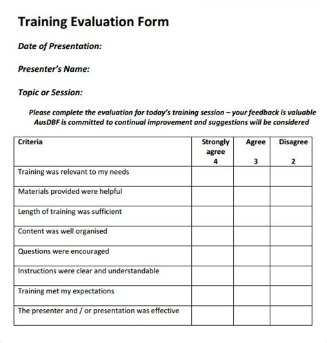 Personal Feedback Form Template by Evaluation Form 17 Free Documents In