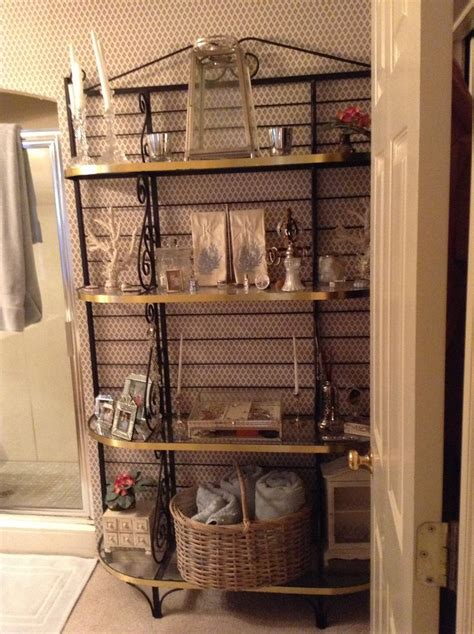 bakers rack in bathroom bakers rack in bathroom good idea for the home pinterest
