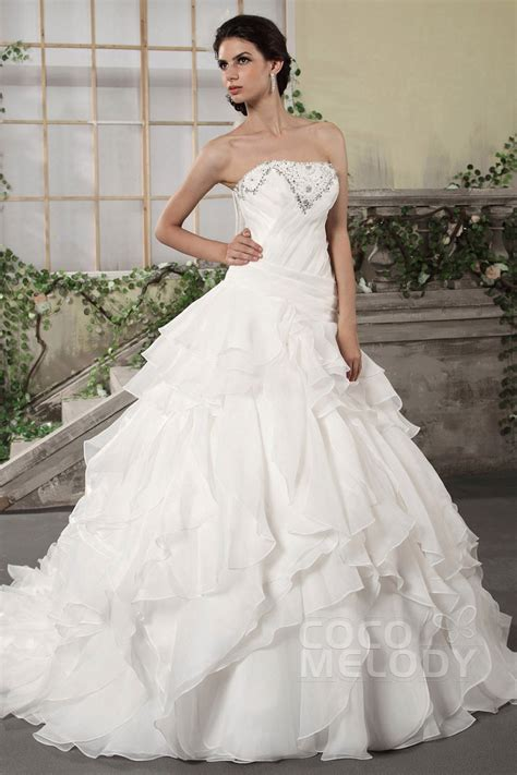 Chapel Wedding Dress by Cocomelody Princess Strapless Chapel Organza