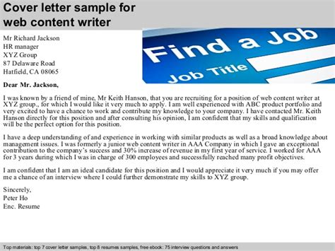 cover letter for content writer web content writer cover letter