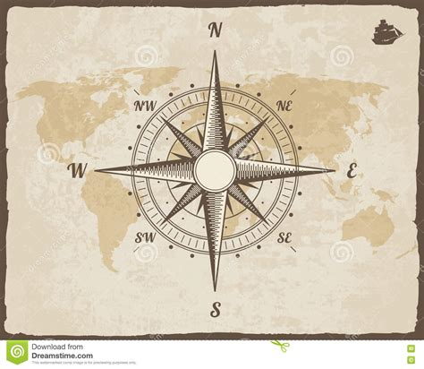 old boat compass vintage nautical compass old world map on vector paper
