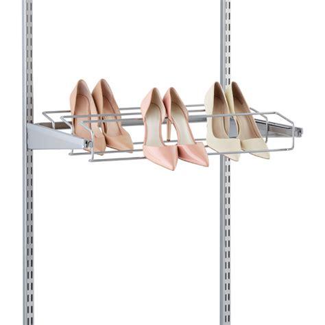 elfa shoe storage platinum elfa gliding shoe racks the container store