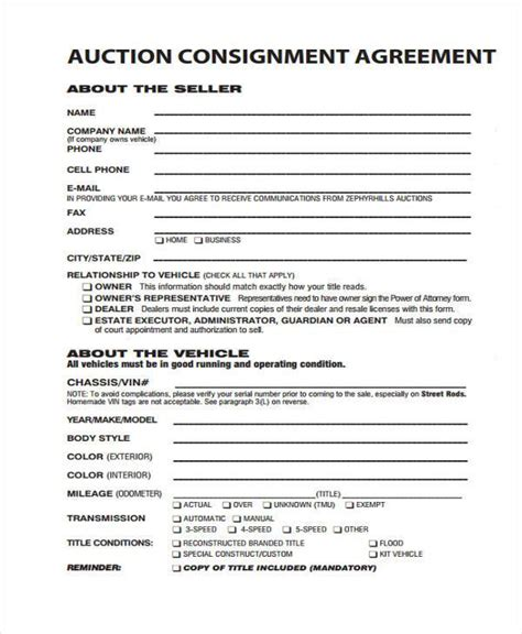 10 Consignment Agreement Form Sles Free Sle Exle Format Download Auction Consignment Agreement Template