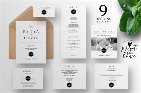 wedding invitation suite leganto wedding templates creative market
