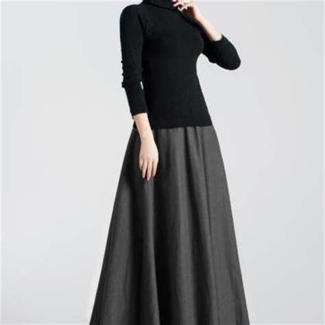 wool a line maxi pleated skirt on luulla