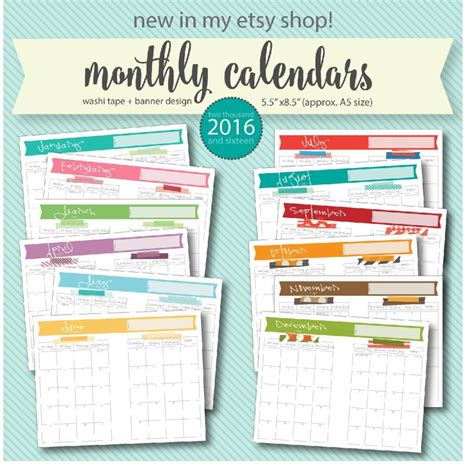 Monthly Calendar Planner Free Printable 2016 Monthly Calendar A5 Pages Live Craft Eat