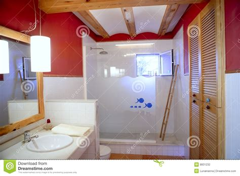 red wall bathroom red wall nice bathroom natural light interior stock photo