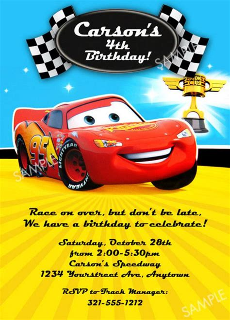 Cars Birthday Card Template by Cars Birthday Invitation Wording Cars