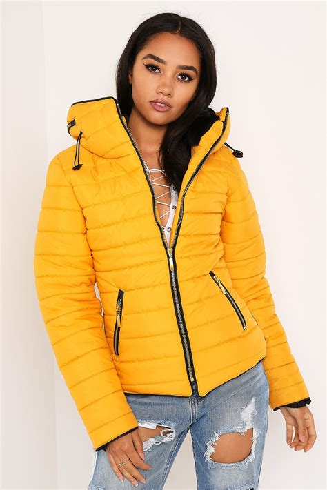 Parka Mustard Dina Fashion 1 mustard fitted quilted puffer jacket lasula