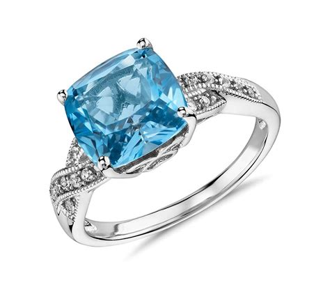 swiss blue topaz and white sapphire ring in sterling