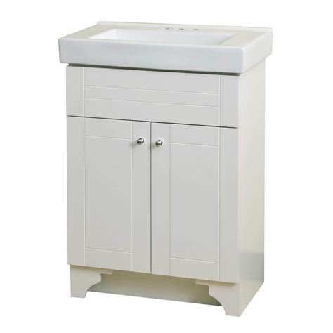 Shop Style Selections White Integral Single Sink Bathroom 24 In Bathroom Vanity With Sink